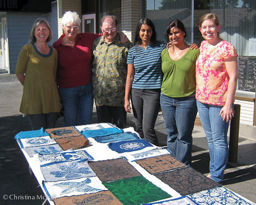 me (far right) and my students with their finished prints
