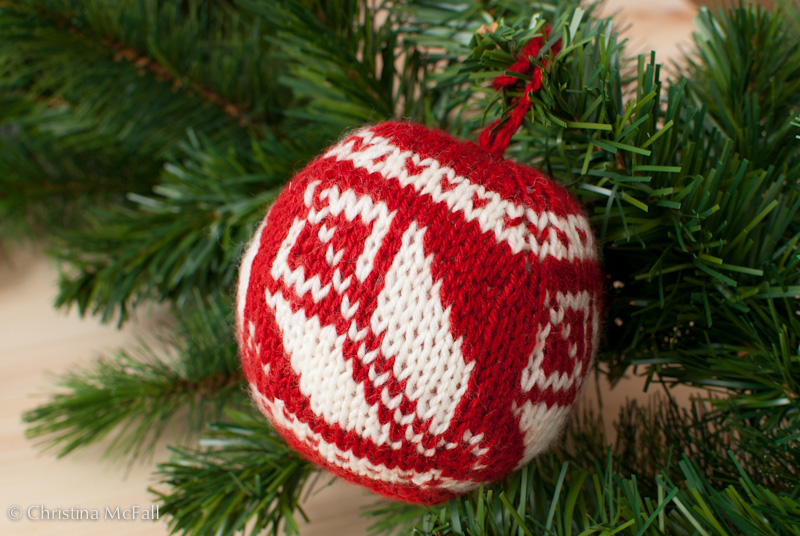 finished knitted christmas ball