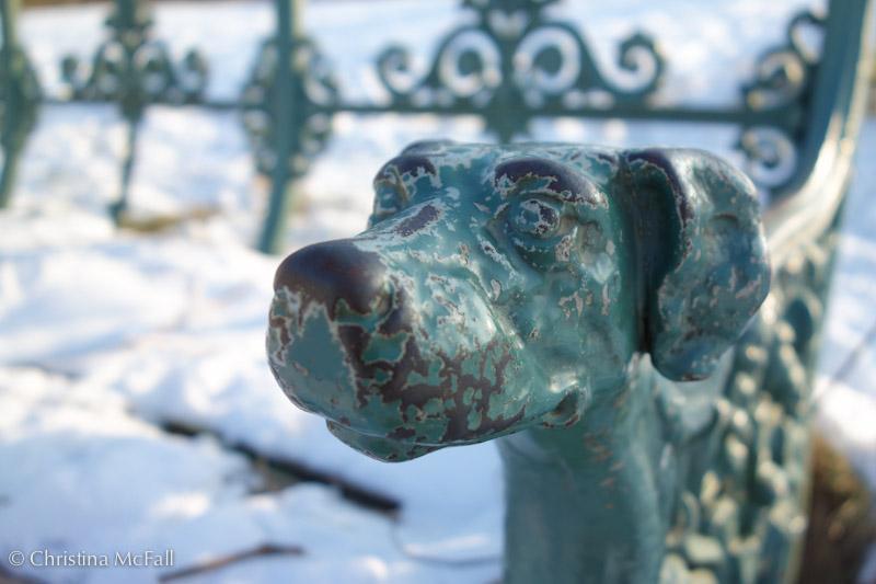 dog head on wrought iron bench at Charlottenburg Schloss Park, Berlin