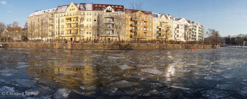ice on the Spree river in Charlottenburg Berlin