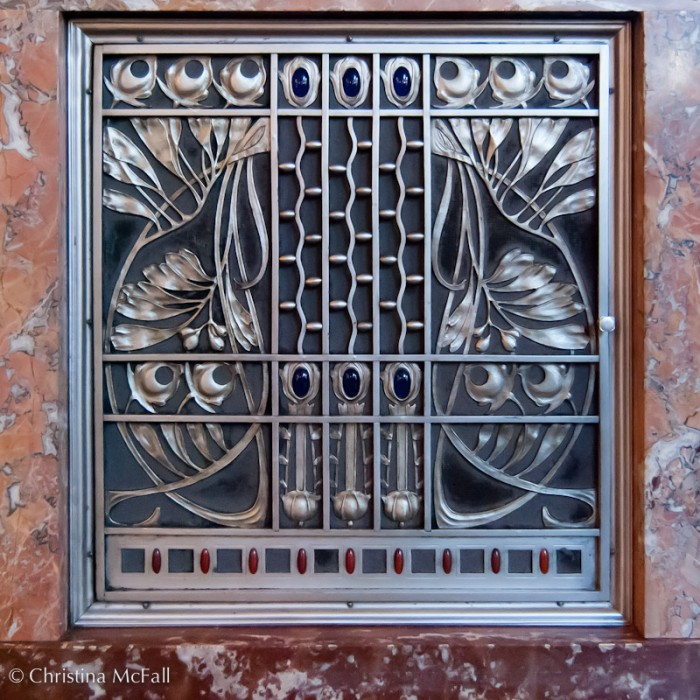 art nouveau metal grillwork from Municipal House in Prague