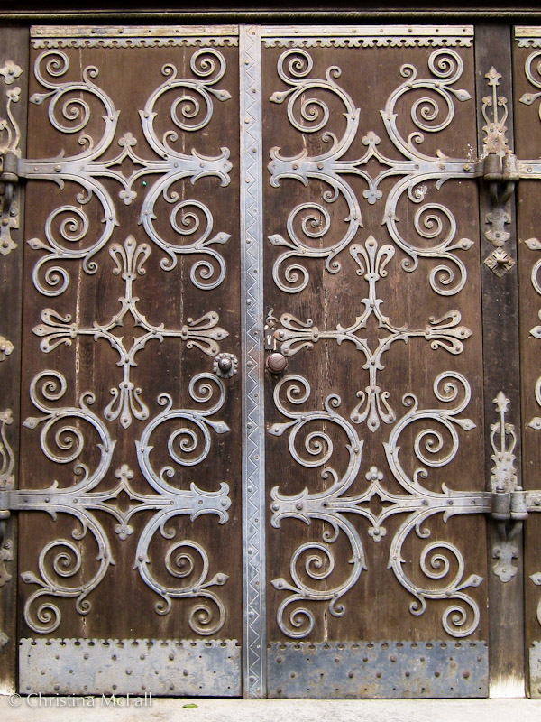 metalwork on church doors in Mitte district, Berlin, Germany
