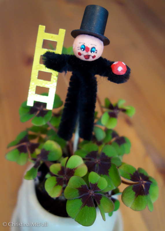 german good luck chimney sweep with clover or schornsteinfeger