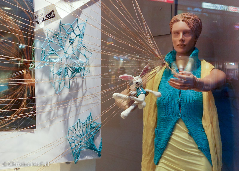 knitting window display at Idee shop in Berlin